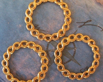 2 PC Raw Brass Stamping Roman Braided Circle - Jewelry Finding -  G0154