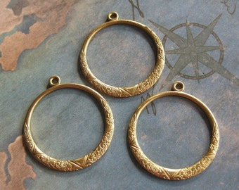 2 PC Raw Brass Victorian Hoop Jewelry Finding -  Q0281