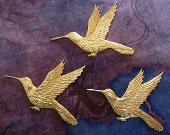 2 PC Raw Virgin Brass -  LG Humming Bird Stamping - Jewelry Finding - L244