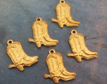 2 PC Brass Boots and Spurs Charm Finding -  B0031