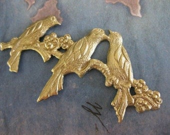 1 PC Raw Brass Birds on a Berry Branch Stamping / Pendant Finding - GG08