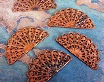 2 PC Raw Brass Vintage Filigree Victorian Half Fan Finding - ZNE GG04