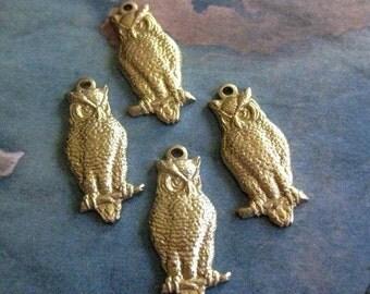 4 PC Raw Brass Wise Owl Charm 2 Lft/2 Rt -  V019 - V020