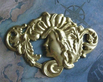 1 PC Raw Brass Large Nouveau Goddess Finding - 0006T