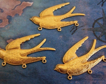 2 PC Raw Brass Flying Bird / Sparrow jewelry Finding - L243