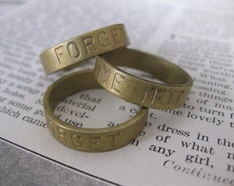 1 PC Stamped Sentiments - Forget Me Not -  Brass Heavy Gauge Ring Band SZ 8 - KK04