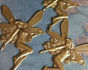 2 PC Raw Brass Large Nouveau Butterfly Fairy Finding - CC02