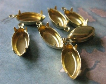 12 PC Raw Brass Pronged Navette Setting Cup / 15 x 7mm - FF01