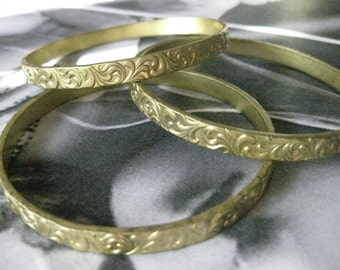 1 PC Unfinished Raw Brass Floral Stamped Seamless Bangle Bracelet Base - B057