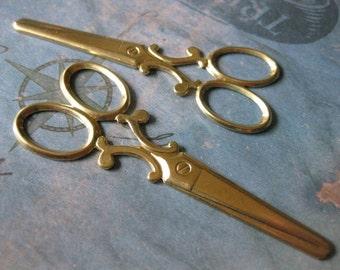 2 PC Raw Brass EXTRA Large Scissor Stamping - JJ05