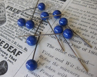 12 PC Vintage Glass Head Pin - Lapis / Cobalt Colored 6mm Ball - JJ04