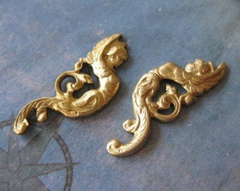 2 PC Brass Winged Nouveau Angel - Lft /Rt Facing Pair - KK13 & 14