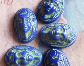 4 PC Vintage Cobalt Blue Czech Glass Egyptian Revival Pharaoh Cameo / 16 x 11 - II10