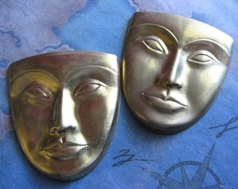 1 PC Extra Large Brass Comedy Tragedy / Thespian Mask  Face Stamping - LL10