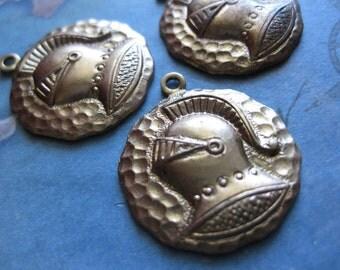 2 PC Brass Heraldic Knight in Armor Medallion Pendant - LL05