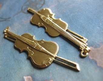 2 PC Raw Brass Violin Pendant - NN02