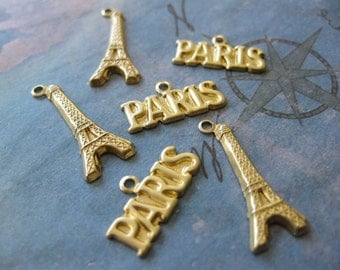 6 PC Brass Paris and Eiffel  Tower Charms / Pendants - LL23 & LL24