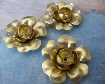 2 PC  - 3 Layer Riveted Brass Flower - NN17