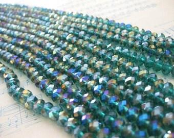 1 Strand Teal AB (Aurora Borealis)  - 6 mm Crystal Cushion Beads