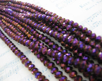 1 Strand Deep Violet - Golden Vitrail - 6 mm Crystal Cushion Beads
