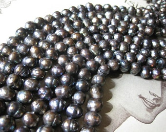 1 Strand Premium - Faceted Fresh Water Pearls / Deep Dusty Mink - 10mm - 12mm