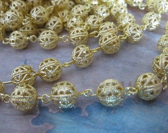 1Ft Raw Brass Filigree Bead Chain - 8mm Bead