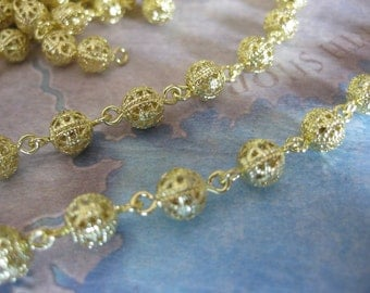 1Ft Raw Brass Filigree Bead Chain - 6mm Bead