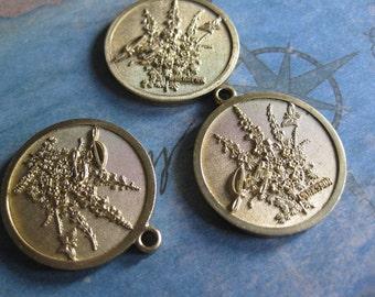 1 PC Solid Brass July Birthday - Larkspur Flower Pendant - TT13