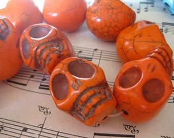 1 PC Large Carved Stone Skull Bead - Orange