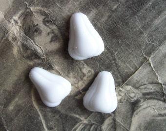 3 PC Vintage German Glass Pear  \/ Chalk White 21 x 16 - ZNE M0306