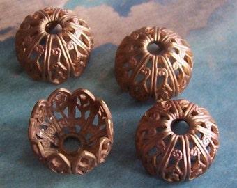 2 PC Victorian Raw Brass Bead\/Button Cap - Jewelry Finding 8-10mm Beads - C0056