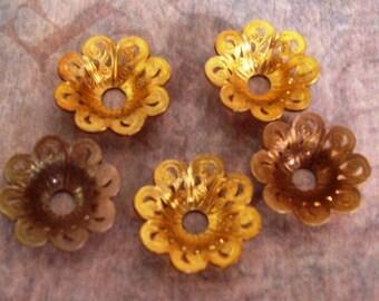 4 PC Raw Brass Filigree Bell Flower Bead Cap - Jewelry Finding -  C0059