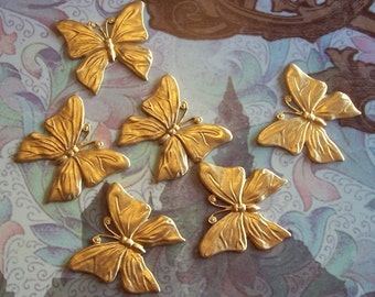 2 PC Raw Brass Large DECO Butterfly finding - F0136