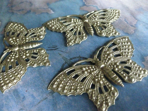 2 PC Raw Brass Large Nouveau Lace Wing Butterfly Finding - DD12