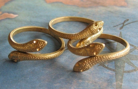 2 PC Virgin Raw Brass Double Serpent / Adjustable Ring - ZNE Q0270