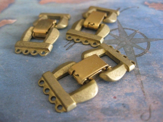 1 PC Solid Brass Extra Heavy Gauge Four Strand Fold Over Box Clasp - II04