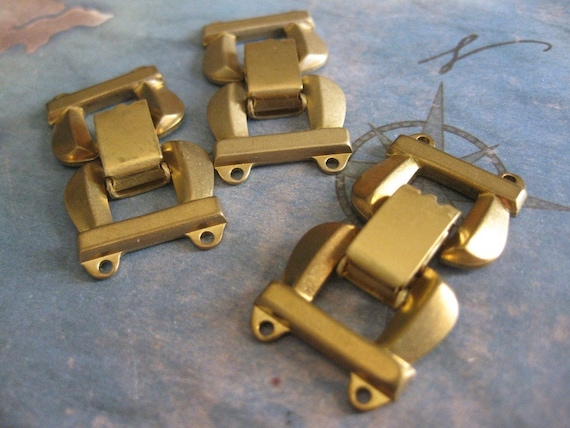 1 PC Solid Brass Extra Heavy Gauge Two Strand Fold Over Box Clasp - II03