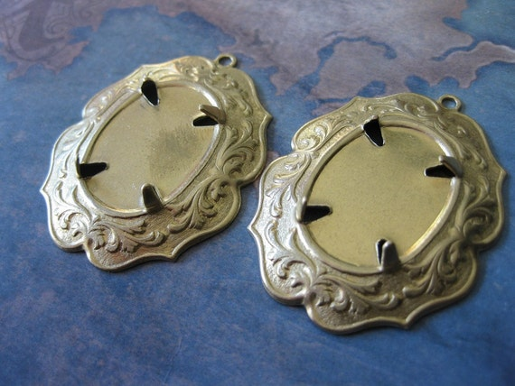 2 PC Raw Brass -  Victorian Oval Prong Setting Cabochon / Cameo Frame Mount  18 x 25 - NN14