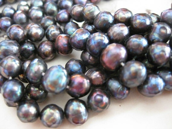 1 Strand Premium - Faceted Fresh Water Pearls / Purple Pewter - 5mm x 6mm