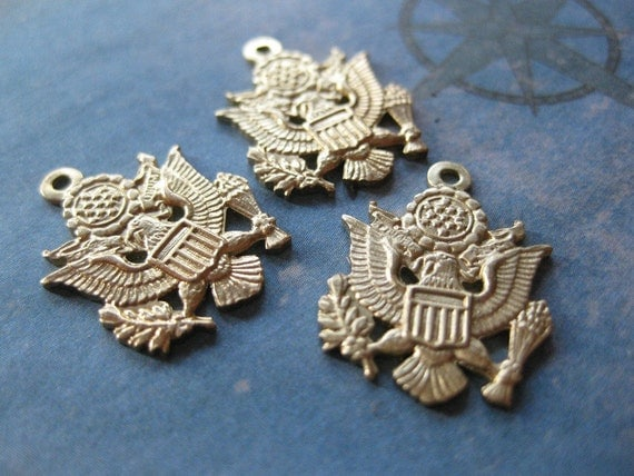 2 PC Solid Brass military Insignia - Pendant / Charm - RR19