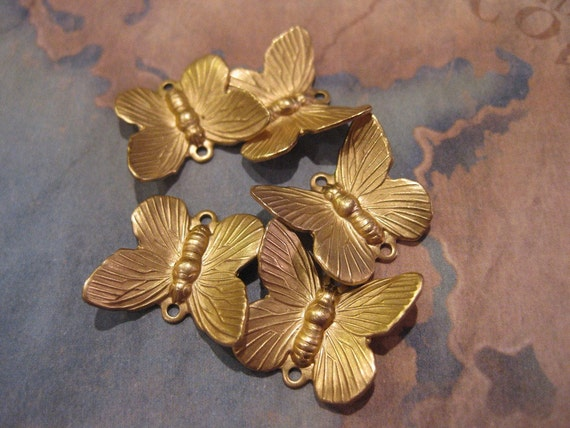 6 PC Raw Brass Dimensional Butterfly Charm / Drop Finding - SS08