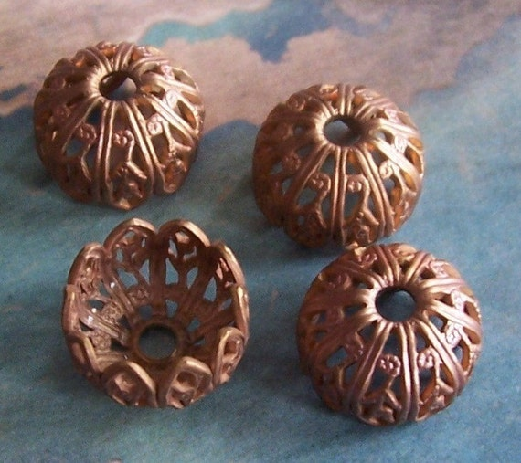 2 PC Victorian Raw Brass Bead\/Button Cap - Jewelry Finding 8-10mm Beads - C0056