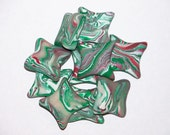 Set of 20 Polymer Clay Beads ' Green Mint Swirl - Pillow Shaped ' CHRISTMAS