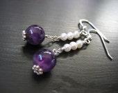 Pearl and Amethyst Earrings