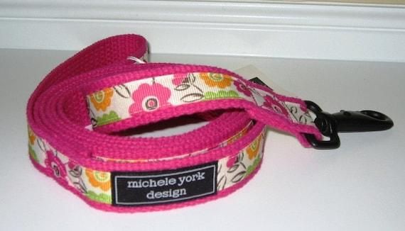 Pink Floral Dog Leash