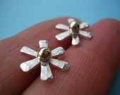 Sunburst Ear Studs - Silver and Gold with Shimmer Finish