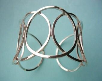 Sterling Silver Cuff Bracelet - Silver Circles Cuff