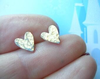 Mini Sterling Silver Shimmer Heart Stud Earrings