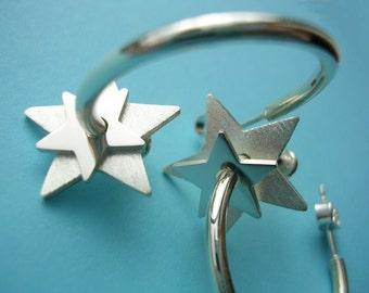 Silver Star Earrings - Double Star Hoops