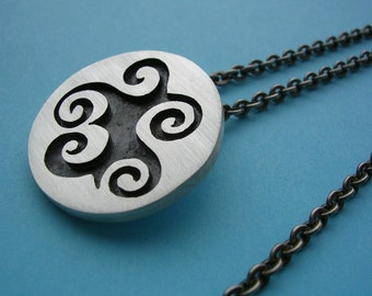 SALE - WAS 65.00 - NOW 55.00 Abstract Sterling Silver Smoke Swirl Pendant and Chain